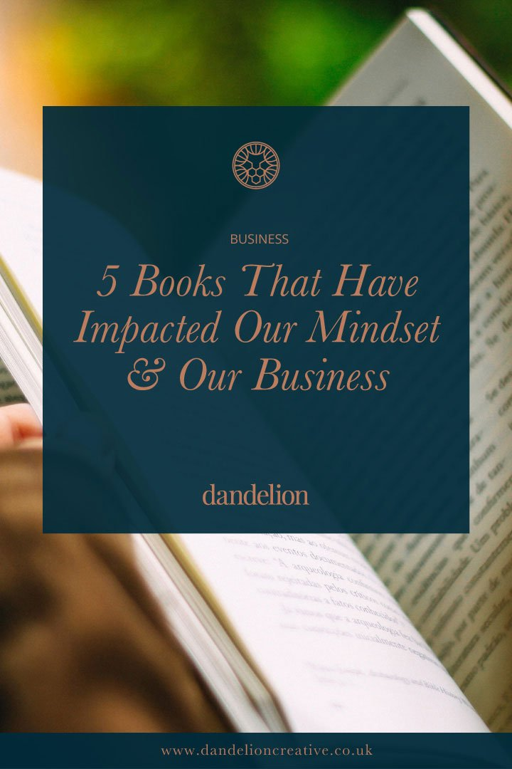 A photo of a book with the Title 5 Books That Have Impacted Our Mindset & Our Business